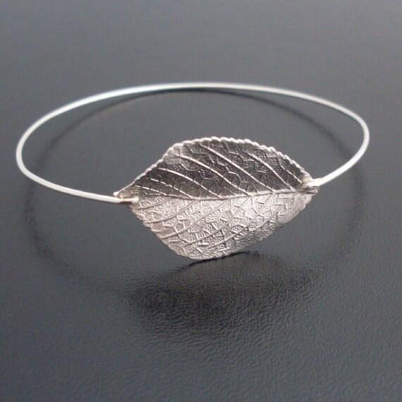Silver Leaf Bracelet, Leaf Bangle, Aspen Leaf Jewelry, Silver Bracelet, Silver Jewelry, Leaf Bangle, Frosted Willow, Silver Bangle Bracelet