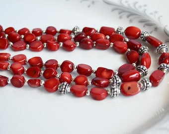 Red coral and silver triple strand chunky necklace,  southwest jewelry, coral jewelry