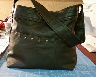 EVERYTHING ON SALE !! clearance priced - Handmade Mossy Green Leather Jacket Handbag - Tote Bag - Purse