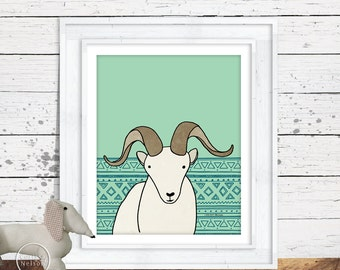 Dall Sheep Illustration Children's Art Printable - Instant Download 8x10