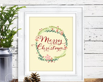 Merry Christmas Wreath Calligraphy Style Art Print  - Instant Download 8x10