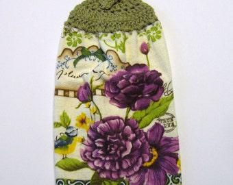 Purple Flowers Hanging Towel, Kitchen supplies, Hostess Gift, Handmade by NormasTreasures
