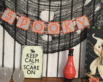SPOOKY Halloween Banner - Chevron Hanging Garland - Halloween Decoration Sign - Spooky Halloween Party Decor