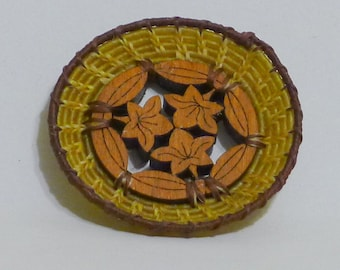 Dollhouse Miniature Coiled Wall Decoration / Platter / Tray / Basket with carved Flower wood base - Hand Made - IGMA - 12th scale