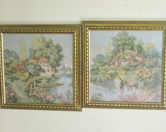 Pair of Vintage Framed Tapestry Picture Wall Hangings, Gold Ornate Frame, Cottage Countryside Motif, Textile Art