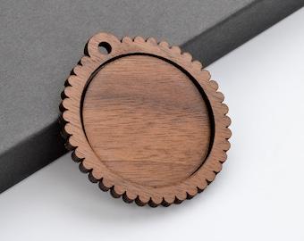 "1.5"" Embroidery Hoop Scalloped Edge Pendants Large 38mm Laser Cut from Walnut Wood EHPSC-38-W"