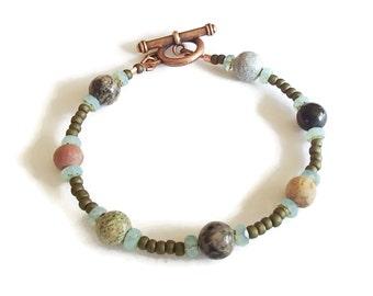 Mixed Stone Czech Glass Bracelet. Everyday Bracelet. Eclectic. Copper