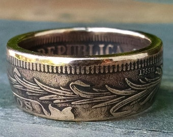 Copper Coin Ring - 1869 Uraguay Two Centesimos Coin Ring - Size: 9