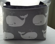 Fabric Organizer Basket Storage Container Bin - Gray with white Whales