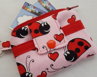 Zipper Mini Wallet Key Chain Coin Purse Fabric Business Card Holder - Pink Lady Bugs Holder