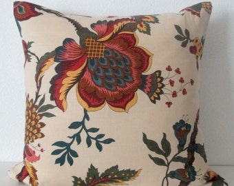 Pillow Cover - Red - Floral Natural - Botanical - Leaf - Cushion Cover  - Decorative Throw Pillow Cover