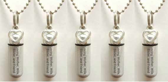 "Set of 5 ENGRAVED Brushed Silver CREMATION URN Necklaces ""Loving Mother Wife Sister and Friend  - w/Open Hearts,  Velvet Pouches & Fill-Kit"