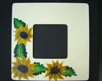 Hand Painted Frame -  Sunflower Frame, Square Photo Frame