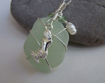 Seafoam Sea Glass Pendant Necklace - Mermaid Necklace - Sterling Silver Wire Wrapped