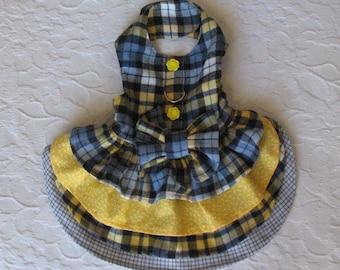 Dog Harness Dress Plaid Yellow Blue Gray Small