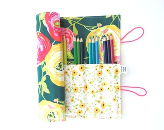 Pencil Case - Paradis Citrus  - flower pencil roll, Bible Journaling, adult coloring, colored pencil holder