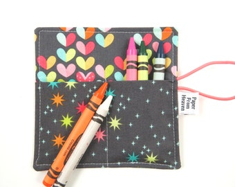 Mini Crayon Roll - Love Bug - holds 8 - 10 crayons,  heart party favor, crayon holder, crayon roll, kids valentines gift