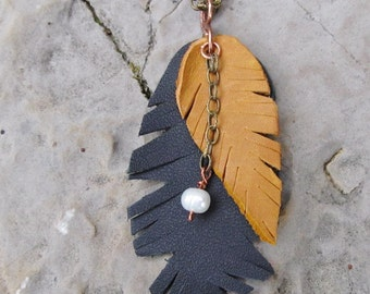 Leather Feather Necklace Leather Leaf Necklace Long Chain Necklace Layered Feather Freshwater Pearl