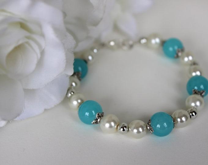 Sky Blue and Pearl Bridesmaids Bracelet.
