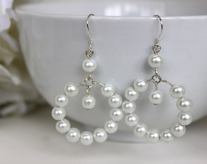 Pearl Hoop Earrings.