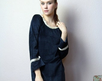 pajama sleep shirt in cotton velour - made to order