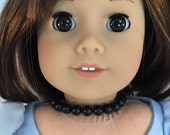 American Girl Sized Choker with Black Beads Necklace