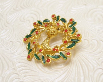 Vintage Wreath Brooch Christmas Jewelry Reindeer