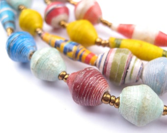 78 Mixed Recycled Paper Bead Necklace from Uganda - African Paper Beads - Jewelry Making Supplies - Made in Uganda ** (PPR-BIC-MIX-120)