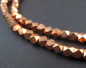 130 Diamond Cut Faceted Copper Beads 5mm - Copper Spacers - Metal Spacers - Jewelry Making Supplies - Made in  ** (FCT-USU-CPR-115)