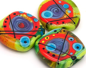 Space World // 3 free shaped lampwork beads // Modern Glass Art // green, orange/red, purple, turquoise, black and yellow