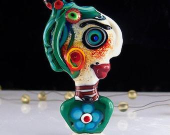 Madame Irma la Douce - *Beautiful faces/ Freak heads* - Modern Glass Art - Unique, Statement focal Bead - by Michou P. Anderson