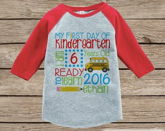 First Day of Kindergarten Outfit - Personalized Kindergarten Stats Shirt - Kids Stats Red Raglan - My 1st Day of School Outfit - Girl or Boy