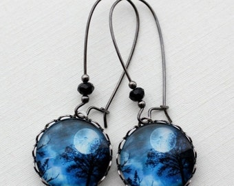 Midnight Sky Full Moon Tree Earrings.