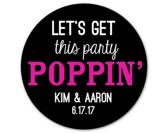 Personalized Baby Shower Stickers - Let's Get This Party Poppin - Custom Labels - Bow - Shower Favor Labels - Colorful Shower Stickers