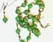 Aventurine and Brass Handmade Rosary Style Necklace and Matching Earrings Set