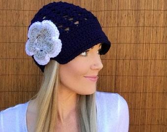 Dallas Cowboys Navy Blue Cap w/ Visor & White Grey Detachable Flower Gray Brim Crochet Texas Football Accessory Hat Knit Accessories Beanie