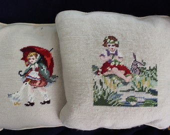 2 Needlepoint Pillows Girl Goose Rabbit pair wool cotton velvet backing Down Filled VINTAGE by Plantdreaming