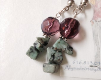 Amethyst and turquoise color post earrings