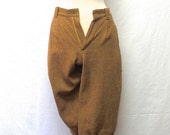 1960s / 70s Vintage Woolrich Knickerbockers / Caramel & Cream Cropped Wool Trousers