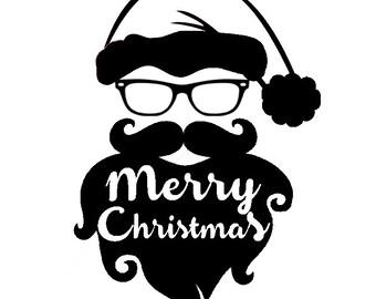 HTV Heat Transfer Vinyl Design Merry Christmas Hipster Santa Beard Silhouette