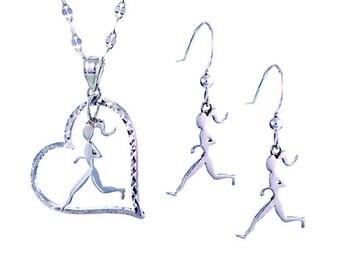 Runner Girl Necklace & Earrings Set-Running Jewelry