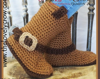 Crochet Pattern Cowboy Boots KID'S Sizes
