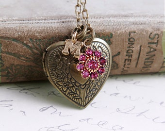 Personalized Locket Necklace, Heart Pendant, Initial Necklace, Flower and Locket Jewelry, Bridemaid Gift
