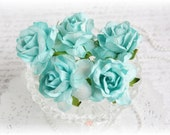 Shabby Chic Large Mulberry Roses Aqua Set of 5 for Scrapbooking, Cardmaking, Altered Art, Wedding, Mini Album