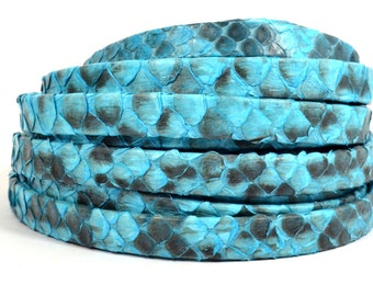 10mm Genuine Python Skin - Turquoise - Choose Your Length
