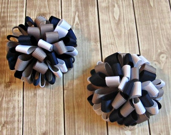 Girls Puffy Loopy Bows- Navy Blue Silver White- Baby Bows- Toddler Bows- Pigtail Bows- Set of Two- Loopy Bows