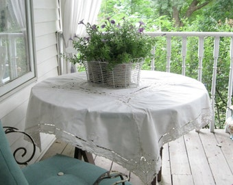 Gorgeous Embroidered Tablecloth, Tablecloth, Cutwork, Lace, Square, Ecru, Cottage Charm,Shabby French,by mailordervintage on etsy