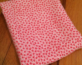 Two Pieces Of Vintage Lightweight Red And White Floral Print Cotton Blend Fabric