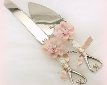 Cake Server Grey And Blush