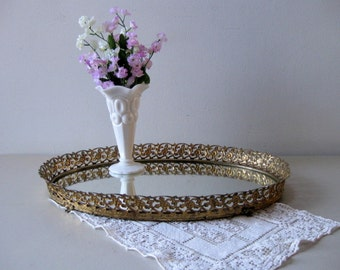 Vintage large oval mirror tray Mirrored dresser tray